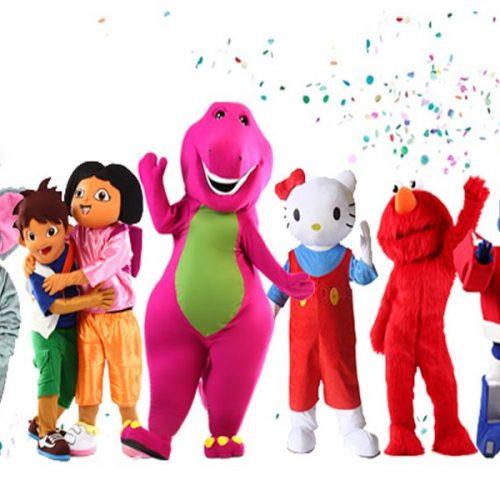 Animation avec mascotte personnage pour une surprise festive